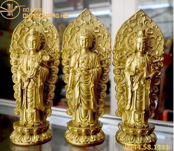 Bộ tượng Tam Thế Phật đứng bằng đồng mạ vàng