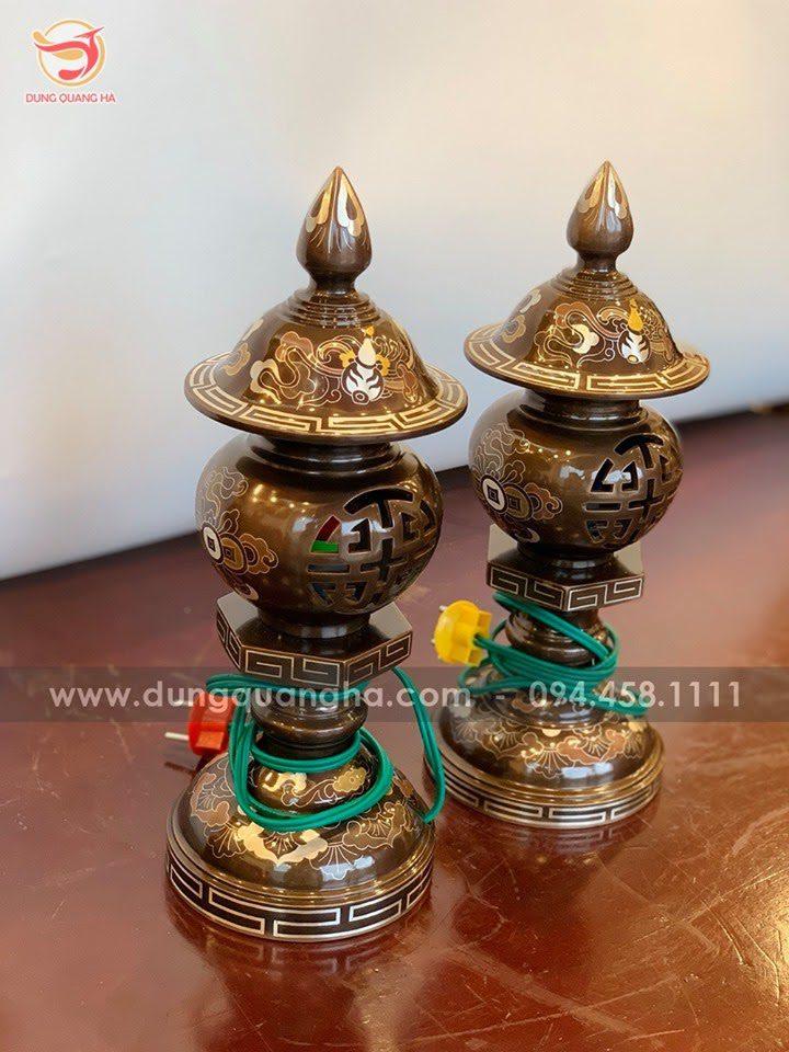 Cặp đèn thờ khảm ngũ sắc chữ Thọ