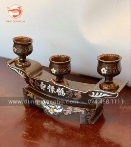 Bộ ngai 3 chén thờ khảm ngũ sắc hoa sen