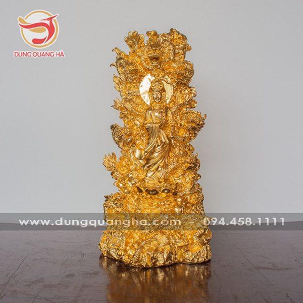 Tượng Phật bà Quan Âm tòa cửu long thếp vàng