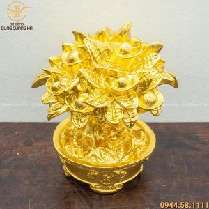 Cây tiền tài lộc bằng đồng mạ vàng 24k cao 21cm