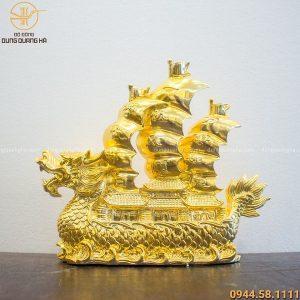 Thuyền rồng phong thủy bằng đồng mạ vàng 24k độc đáo