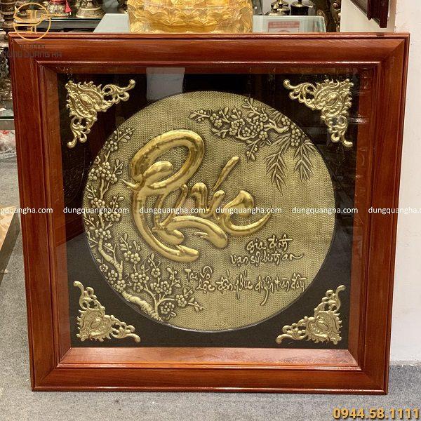 Tranh đồng chữ Phúc khung gỗ 80x80cm, chữ Phúc dát vàng