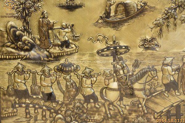 Tranh đồng Vinh Quy Bái Tổ 1m7 họa tiết hun giả cổ