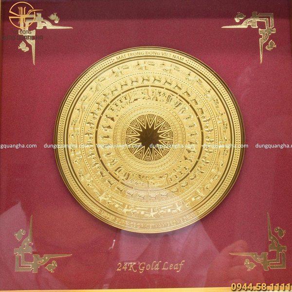 Tranh mặt trống đồng lưu niệm mạ vàng 30cm đẹp tinh xảo