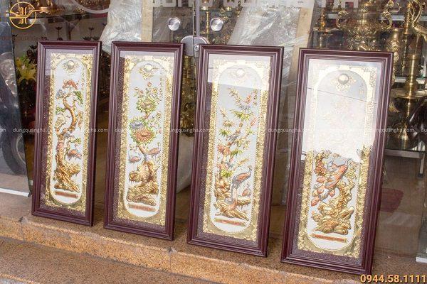 Tranh tứ quý bằng đồng họa tiết sơn màu nền trắng 1m2
