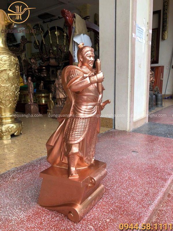 Tượng Đức Thánh Trần Hưng Đạo cao 90cm bằng đồng đỏ mộc