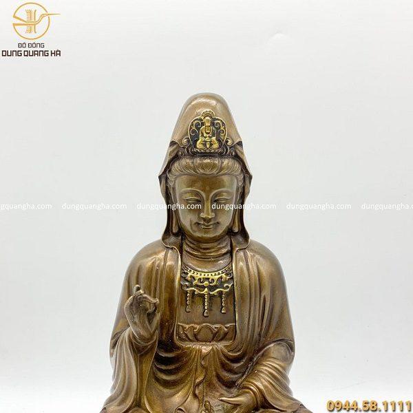 Tượng Phật Bà Quan Âm bằng đồng giả cổ cao 30cm