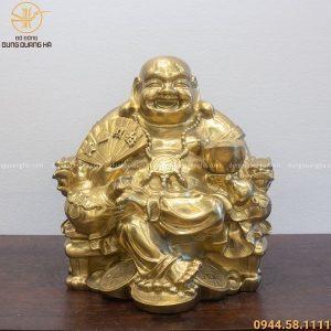 Tượng Phật Di Lặc đẹp cầm quạt như ý bằng đồng catut
