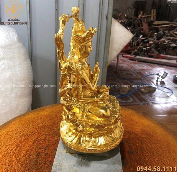 Tượng Phật Mẫu Chuẩn Đề bằng đồng cao 29cm thếp vàng 9999