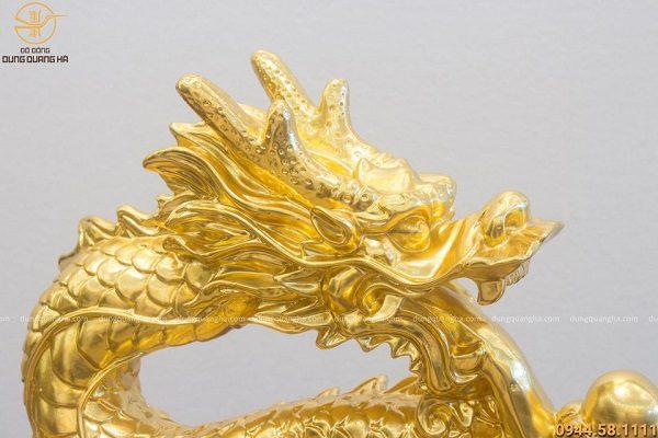 Tượng rồng phong thủy bằng đồng dát vàng cao 40cm dài 32cm