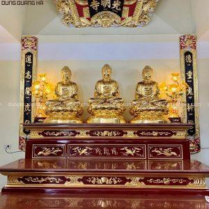 Tượng Tam Thế Phật cao 1m08 - đồng đỏ dát vàng mỗi pho nặng 180kg