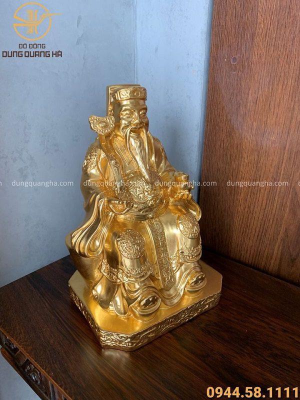 Tượng Thần Tài Thổ Địa cao 27cm thếp vàng 9999 độc đáo