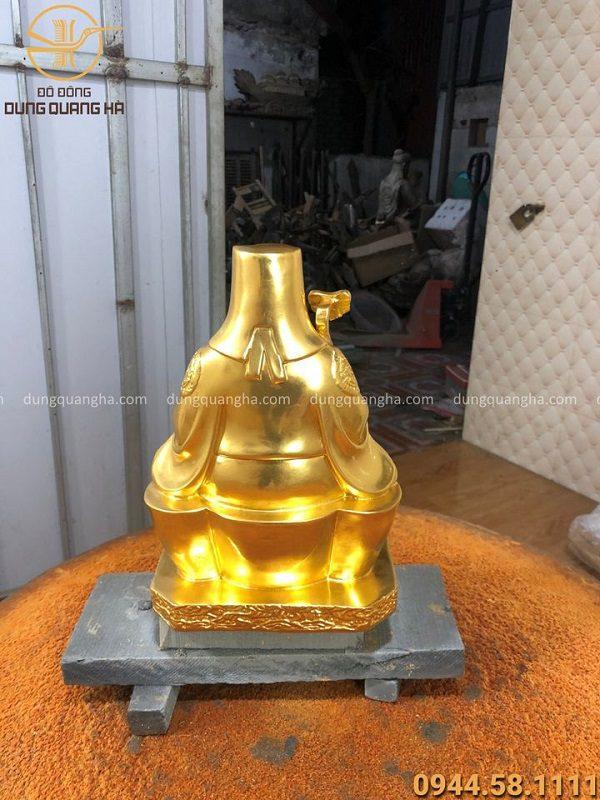Tượng Thần Tài Thổ Địa đẹp bằng đồng thếp vàng 9999
