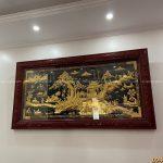 Lắp đặt tranh đồng quê dát vàng 9999 cho khách tại Quốc Oai – Hà Nội