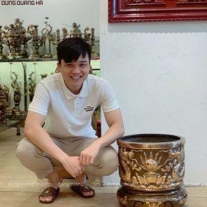 Bát hương thờ cúng bằng đồng đỏ cạo màu 40cm độc đáo