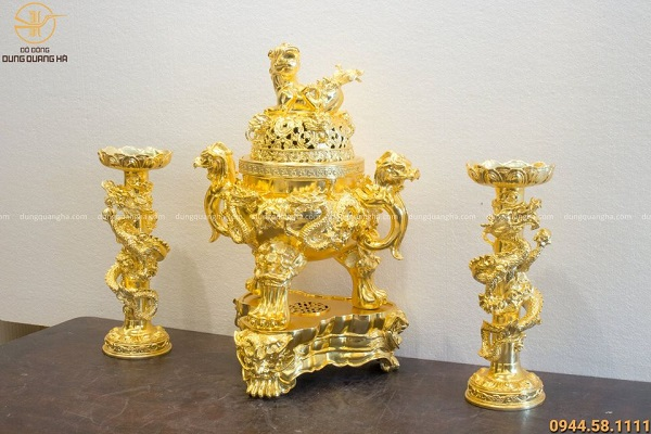 Bộ tam sự song long chầu nguyệt bằng đồng mạ vàng cao 60cm