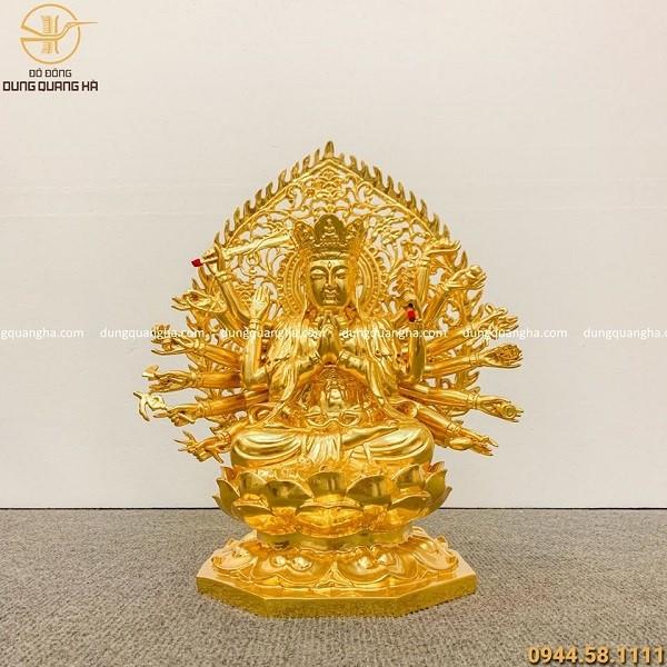 Tượng Phật Chuẩn Đề bằng đồng dát vàng cao 30cm - liếc 40cm