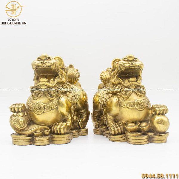 Cặp Tỳ Hưu bằng đồng vàng mộc cao 25cm thiết kế độc đáo