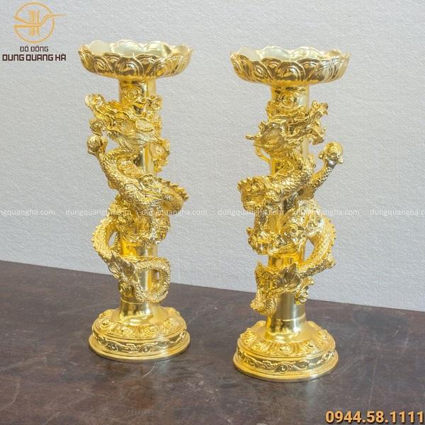 Chân nến thờ song long bằng đồng mạ vàng 24k độc đáo