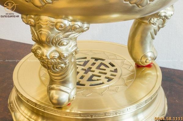 Đỉnh đồng thờ cúng bằng đồng catut cao 70cm chạm hoa sòi