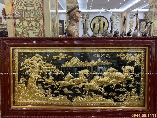 Tranh mã đáo thành công kích thước 1m7 bằng đồng vàng 24k
