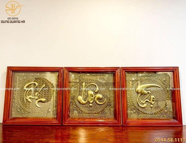 Tranh chữ Phúc - Lộc - Thọ bằng đồng thúc nổi