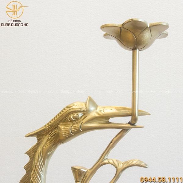 Đôi hạc thờ bằng đồng catut cao 70cm thiết kế tinh xảo
