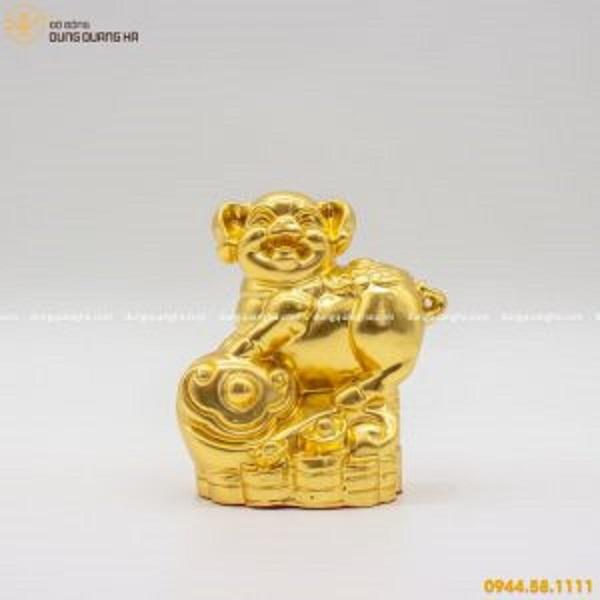 Tượng Heo phong thủy bằng đồng thếp vàng 9999