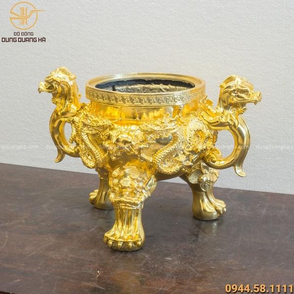 Lư hương đồng hoa văn song long chầu nguyệt mạ vàng 24k