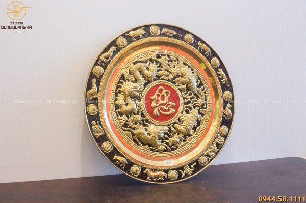 Mâm đồng tứ linh chữ Nhẫn đường kính 50cm