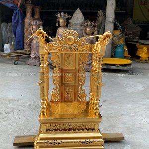 Ngai thờ gia tiên đẹp bằng đồng thếp vàng 9999 cao 68cm