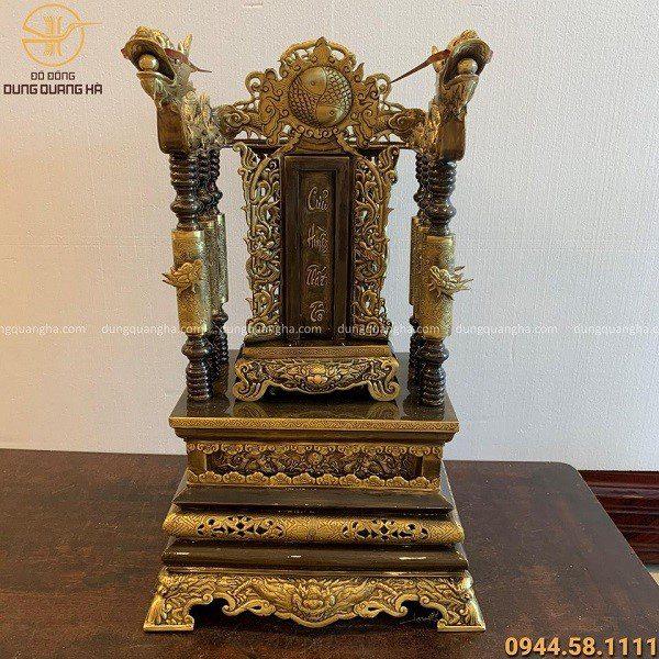 Ngai thờ 68cm đồng vàng hun giả cổ đặt bài vị cửu huyền thất tổ cao 40cm x 20cm