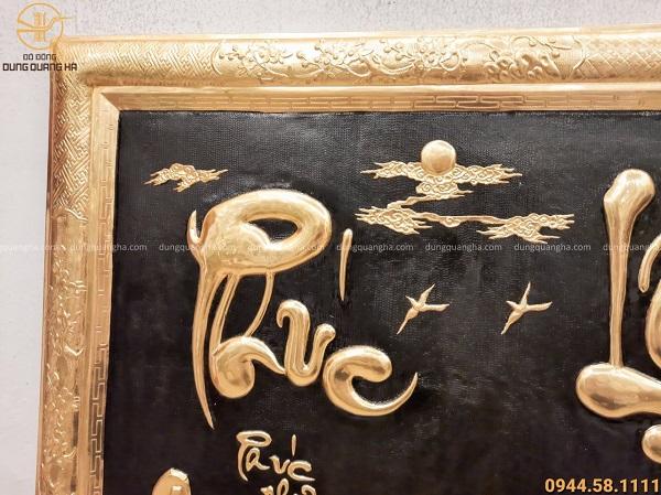 Tranh chữ Phúc Lộc Thọ khung liền đồng dát vàng cả khung 127x88cm