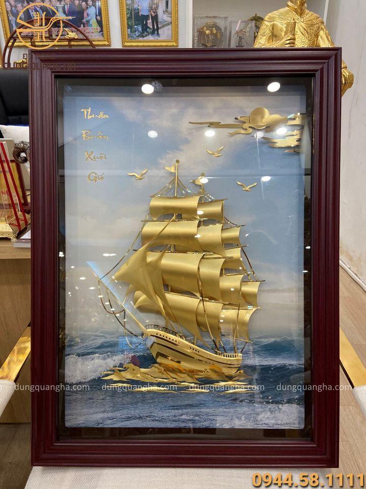Tranh lưu niệm Thuận Buồm Xuôi Gió mạ vàng kích thước 60x80cm