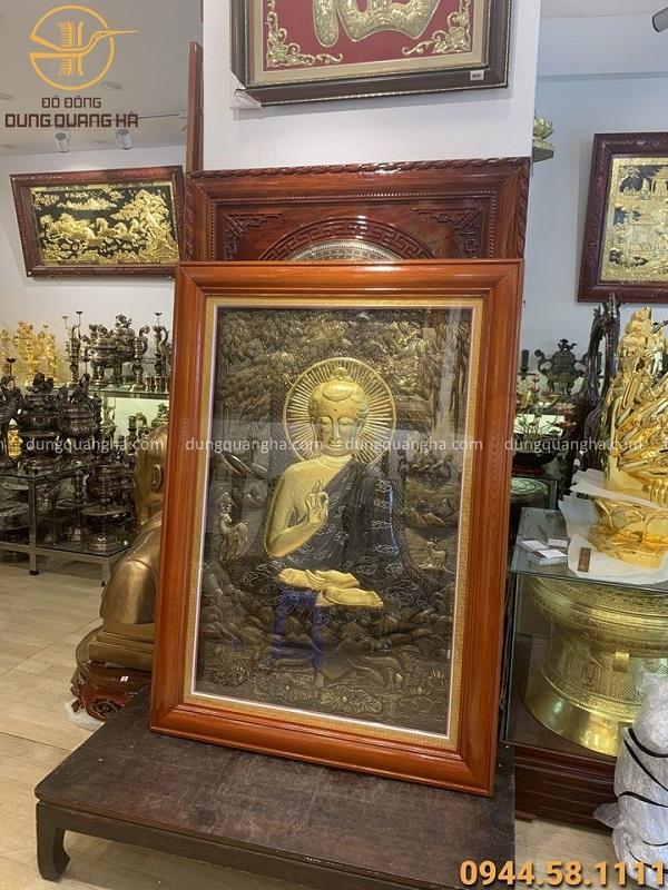 Tranh Phật dát vàng 9999 kích thước 1mx1m4 đẹp tôn nghiêm