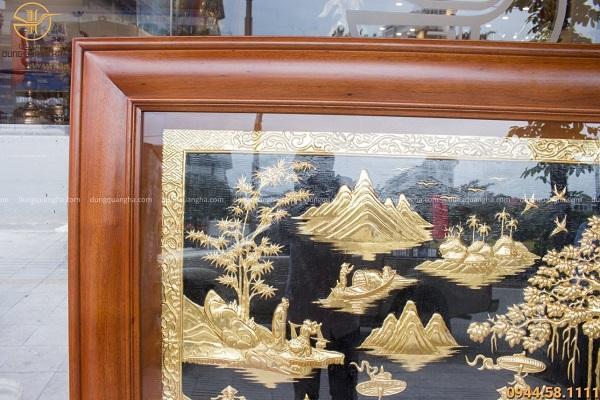Tranh Vinh Quy Bái Tổ chữ Hán bằng đồng đẹp tinh xảo