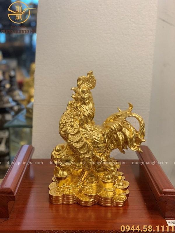 Tượng gà như ý bằng đồng thếp vàng 9999 cao 30cm