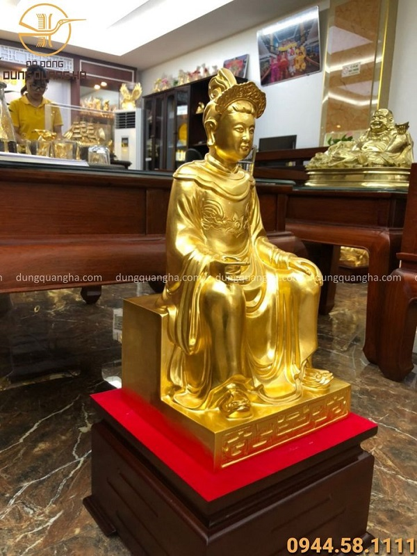 Tượng Mẫu Thượng Ngàn bằng đồng cao 70cm thếp vàng 9999