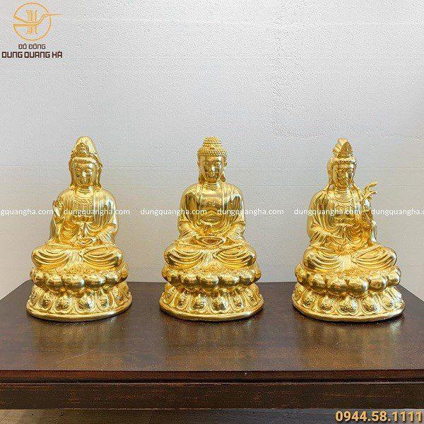 Bộ tượng tam thánh Phật bằng đồng dát vàng 9999 cao 47cm