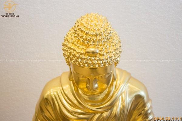Tượng Phật Thích Ca bằng đồng đỏ dát vàng 9999 cao 70cm