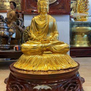 Tượng Phật Thích Ca cao 60cm bằng đồng thếp vàng 9999