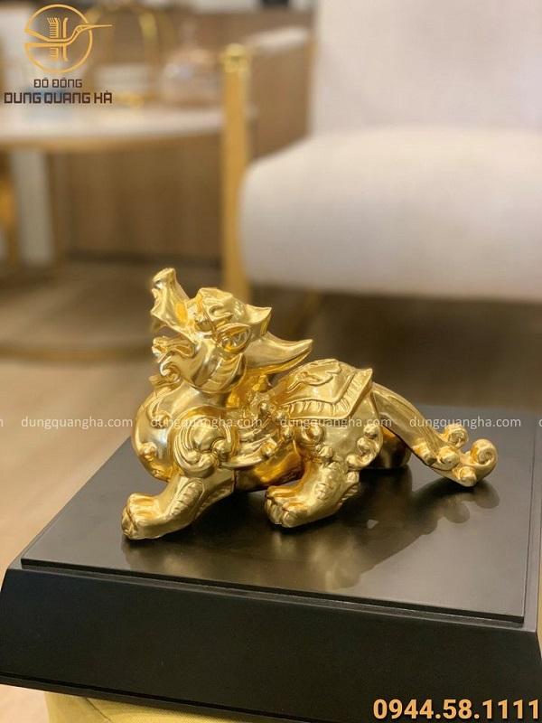 Tỳ Hưu phong thủy bằng đồng 25x15cm thếp vàng 9999