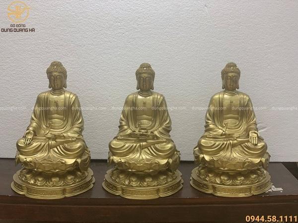 Bộ tượng Tam Thế Phật cao 42cm tôn nghiêm bằng đồng vàng