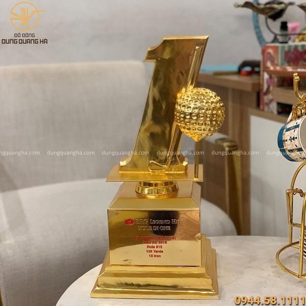 Cúp đồng lưu niệm cao 50cm hàng đặt theo yêu cầu mạ vàng 24k
