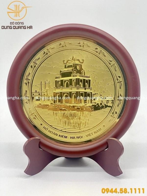 Đĩa đồng lưu niệm Tháp Rùa- Hồ Hoàn Kiếm