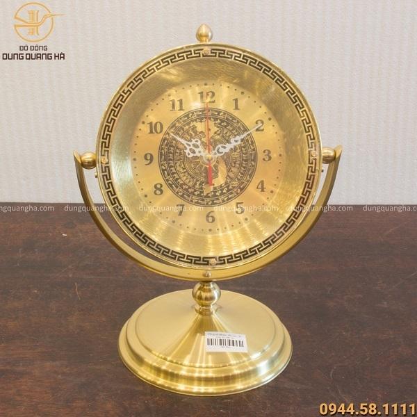 Đồng hồ mặt trống đồng bằng đồng đế trơn cao 30cm