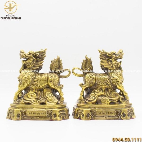 Đôi Kỳ Lân giá rẻ phong thủy bằng đồng vàng mộc cao 20cm