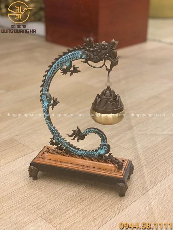 Lư xông trầm bằng đồng vàng hun giả cổ hình rồng treo 30x20cm