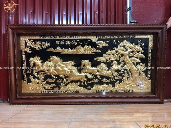 Tranh Mã Đáo Thành Công 2m3 x 1m2 dát vàng khung gỗ gụ